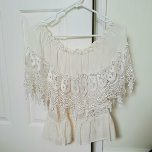 Stone Cold Fox Tops - Stone Cold Fox Off-Shoulder Lace Blouse